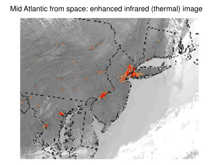 Mid Atlantic from space: enhanced infrared (thermal) image