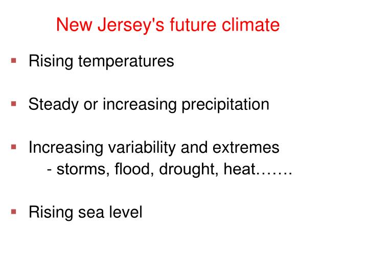 New Jersey's future climate