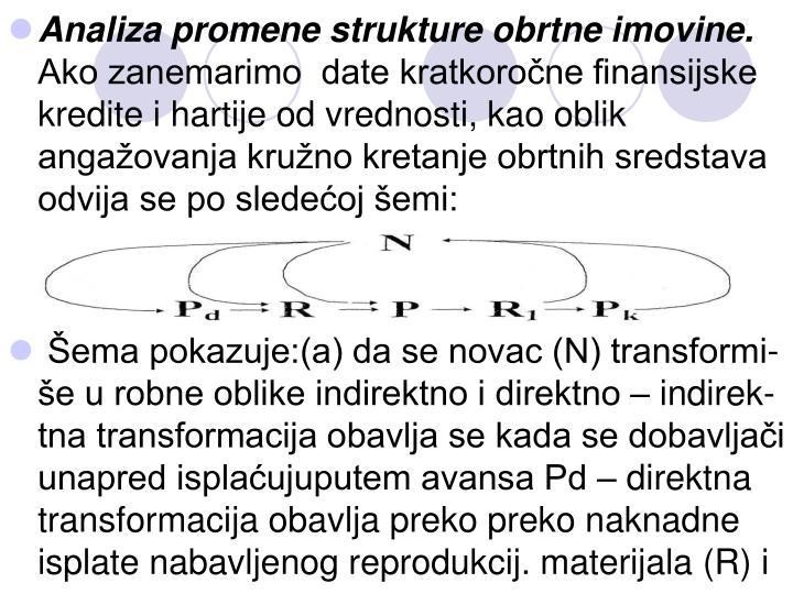 Analiza promene strukture obrtne imovine.
