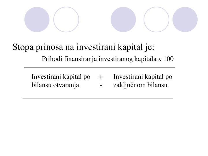 Stopa prinosa na investirani kapital je: