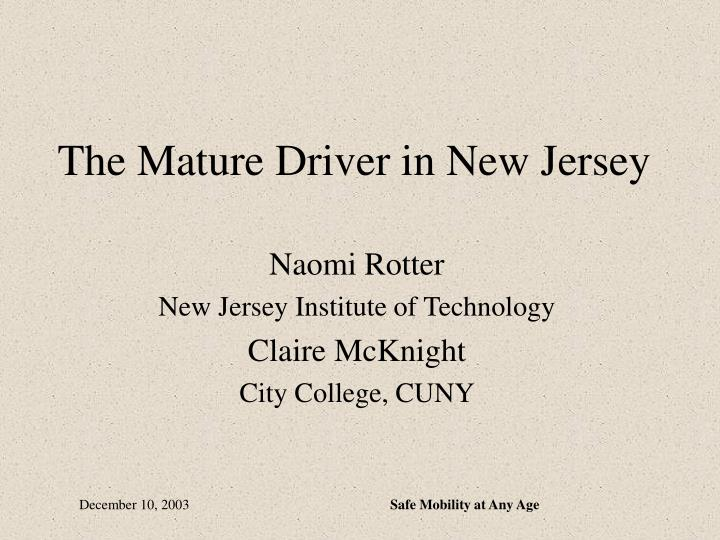 the mature driver in new jersey