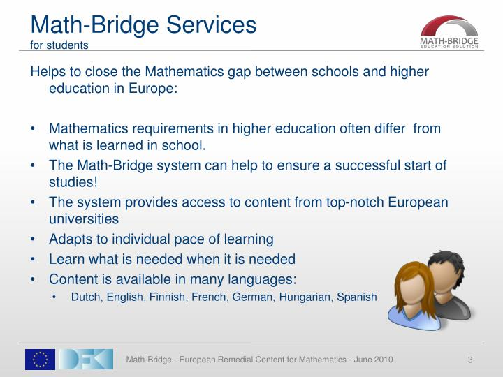 Math bridge services for students