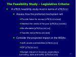 the feasibility study legislative criteria1