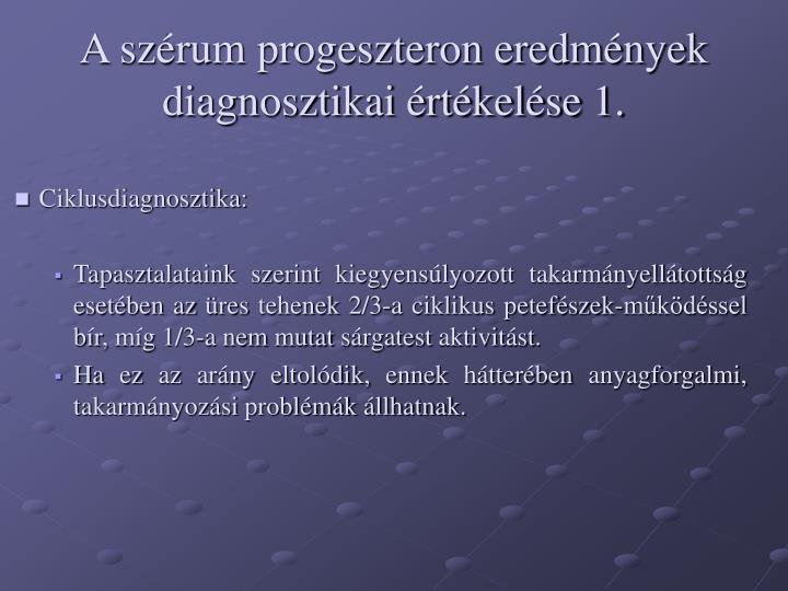 A szérum progeszteron eredmények diagnosztikai értékelése 1.