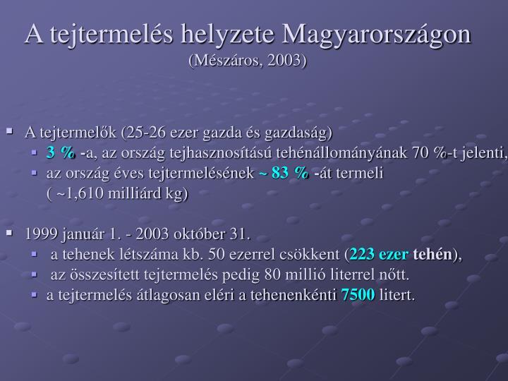 A tejtermelés helyzete Magyarországon
