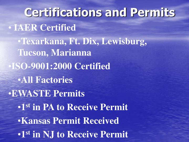Certifications and Permits