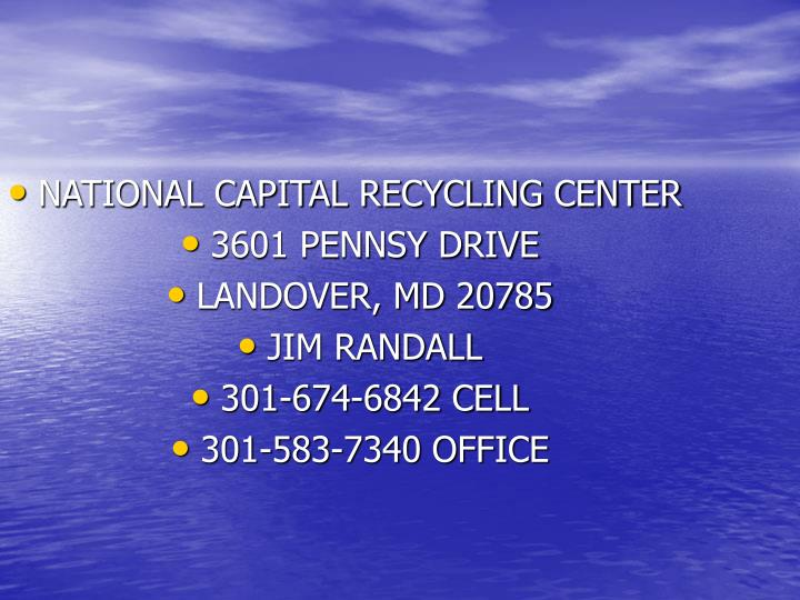 NATIONAL CAPITAL RECYCLING CENTER
