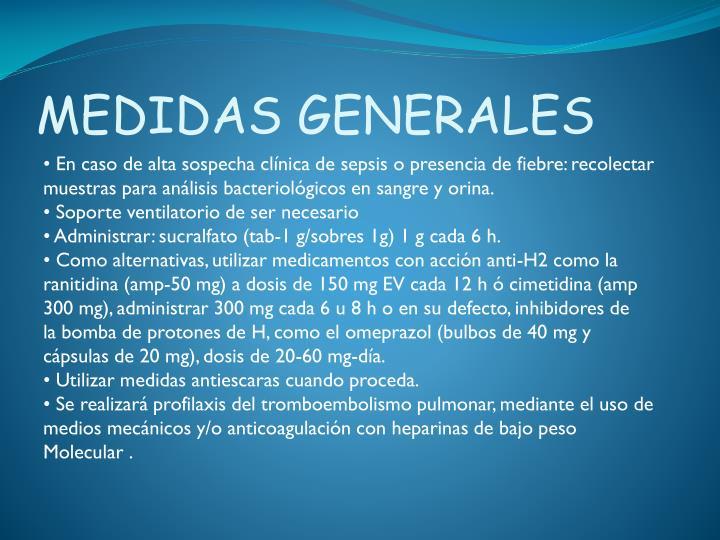 MEDIDAS GENERALES