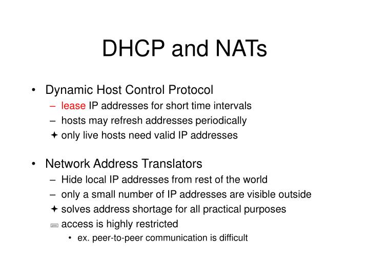 DHCP and NATs