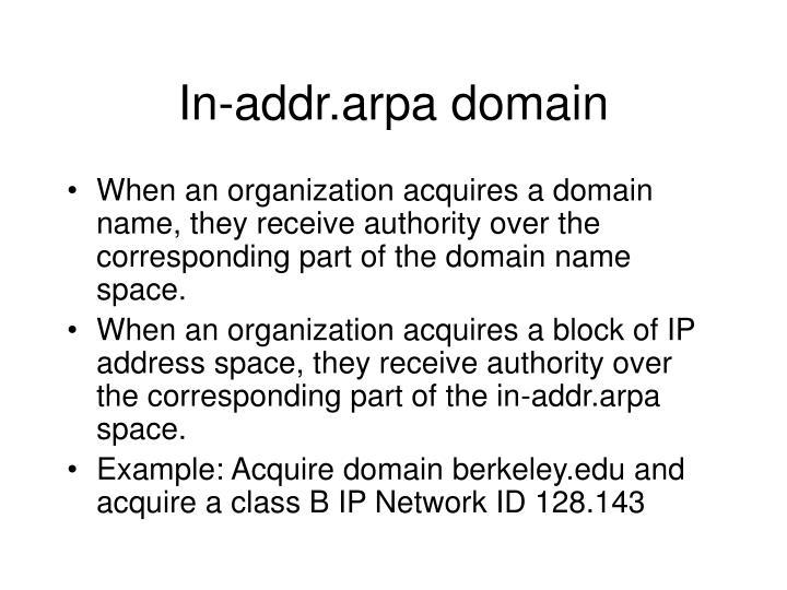 In-addr.arpa domain