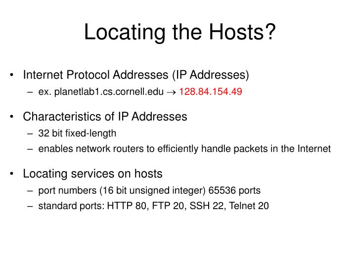 Locating the Hosts?