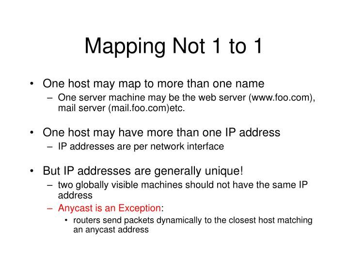 Mapping Not 1 to 1