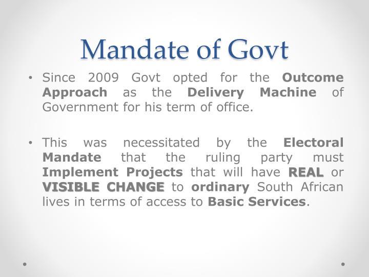 Mandate of