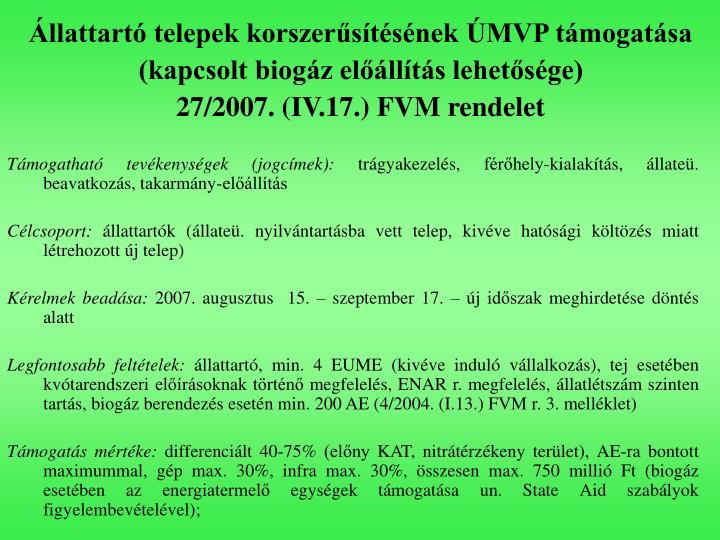 Állattartó telepek korszerűsítésének ÚMVP támogatása