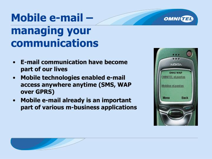 Mobile e-mail – managing your communications
