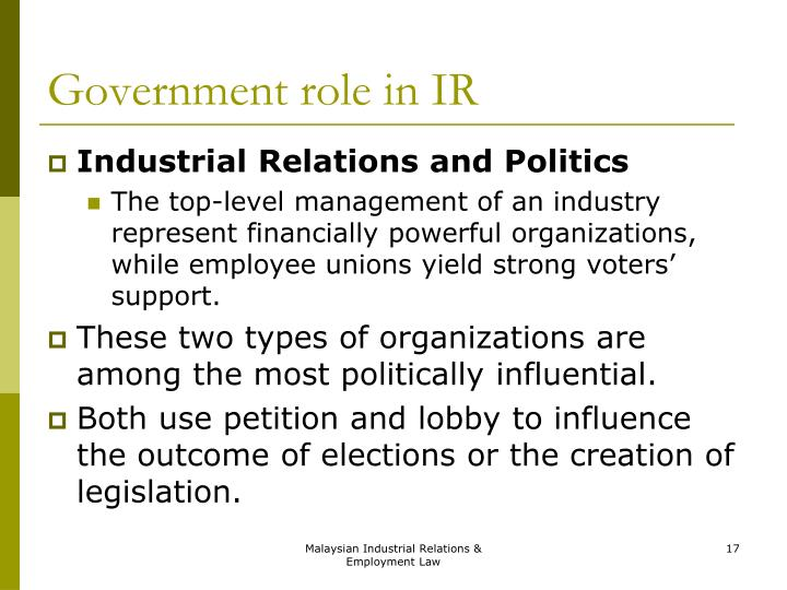 industrial relations act of malaysia Prof v anantaraman ma, phd (wisconsin) cert ltp (harvard) specialist in industrial relations, faculty of management, multimedia university, cyberjaya malaysia this review of selected domains of the industrial relations act 1967 is meant to provoke discussion on the needed revision of some of its provisions from the workers' point of view.