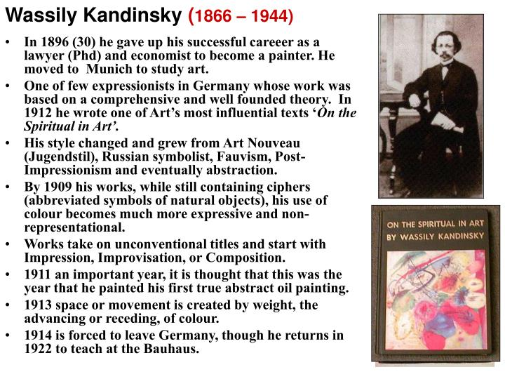 In 1896 (30) he gave up his successful careeer as a lawyer (Phd) and economist to become a painter. He moved to  Munich to study art.