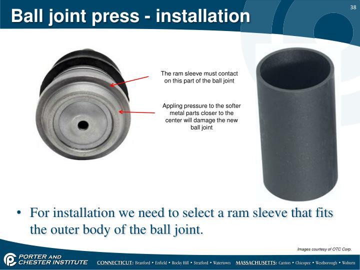 Ball joint press - installation