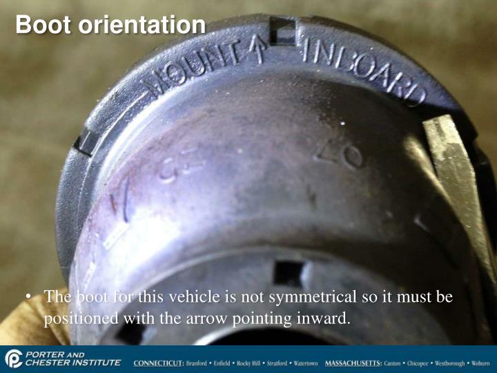 Boot orientation