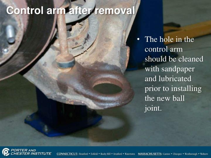 Control arm after removal
