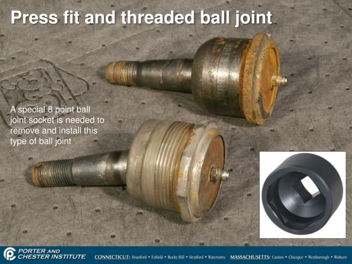 Press fit and threaded ball joint