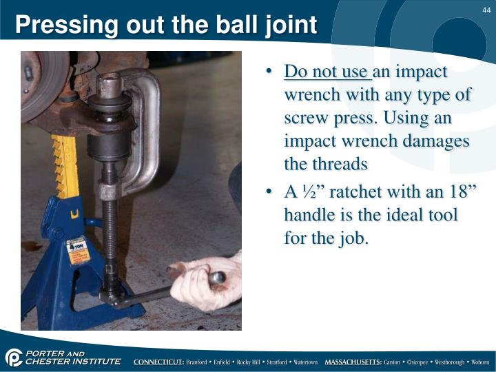Pressing out the ball joint