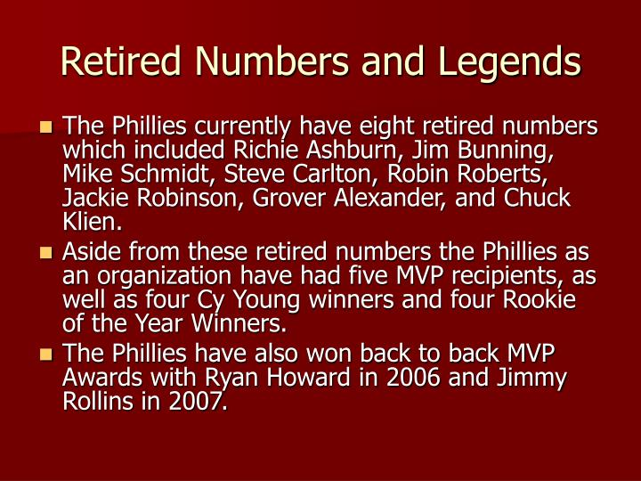 Retired Numbers and Legends