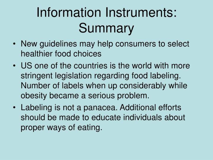 Information Instruments: Summary