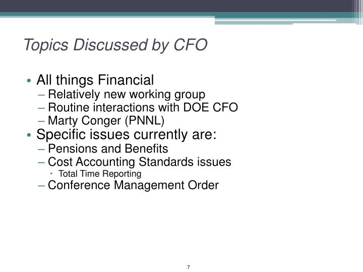 Topics Discussed by CFO