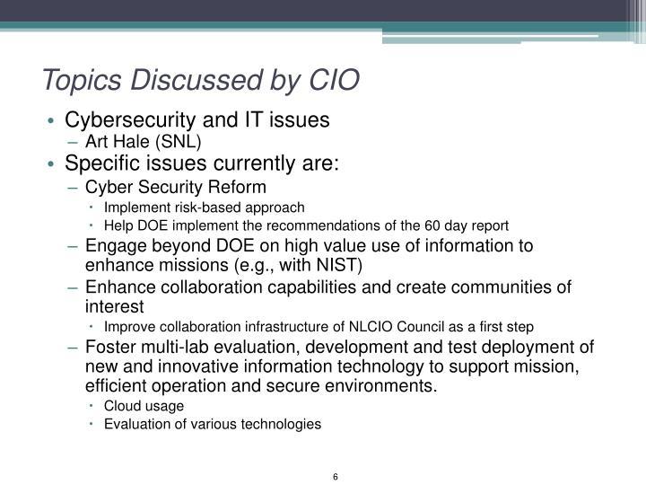 Topics Discussed by CIO