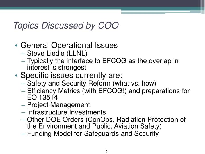 Topics Discussed by COO