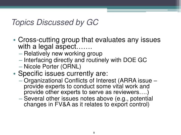 Topics Discussed by GC
