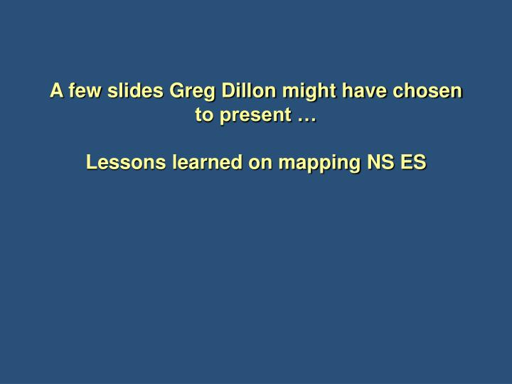 a few slides greg dillon might have chosen to present lessons learned on mapping ns es n.