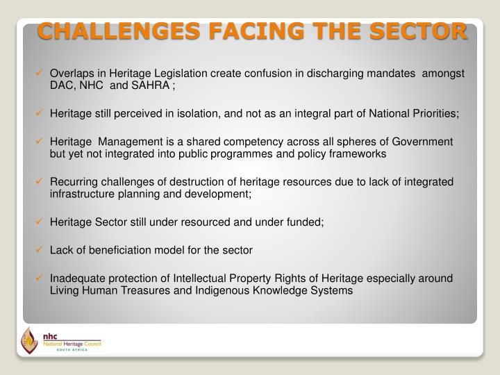 Overlaps in Heritage Legislation create confusion in discharging mandates  amongst DAC, NHC  and SAHRA ;