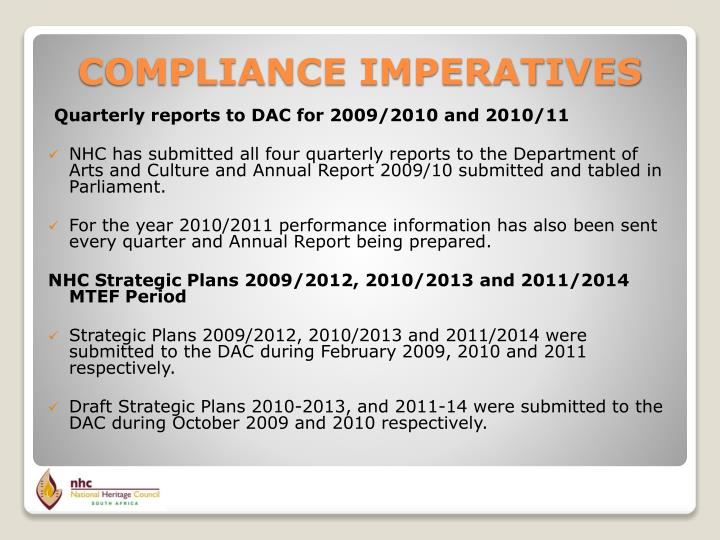 Quarterly reports to DAC for 2009/2010 and 2010/11