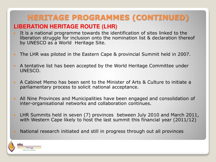LIBERATION HERITAGE ROUTE (LHR)