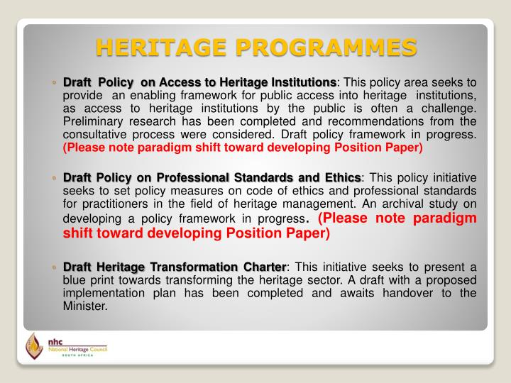 Draft  Policy  on Access to Heritage Institutions