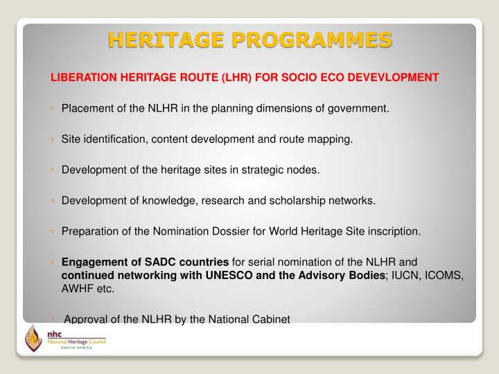 LIBERATION HERITAGE ROUTE (LHR) FOR SOCIO ECO DEVEVLOPMENT