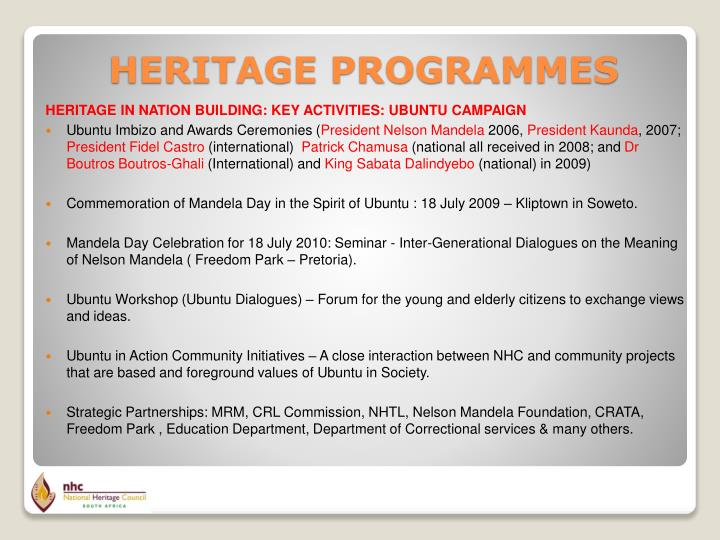 HERITAGE IN NATION BUILDING