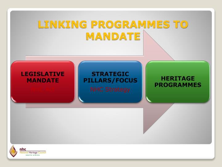 LINKING PROGRAMMES TO MANDATE
