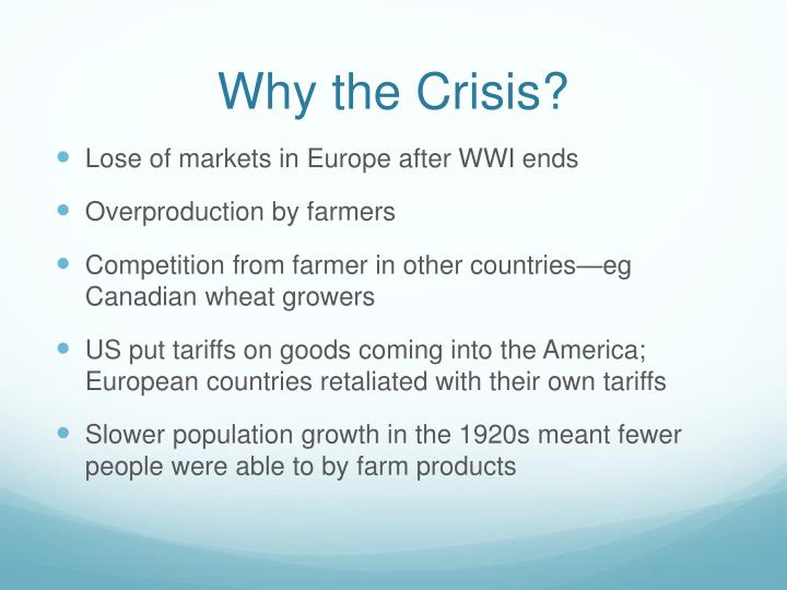 Why the Crisis?