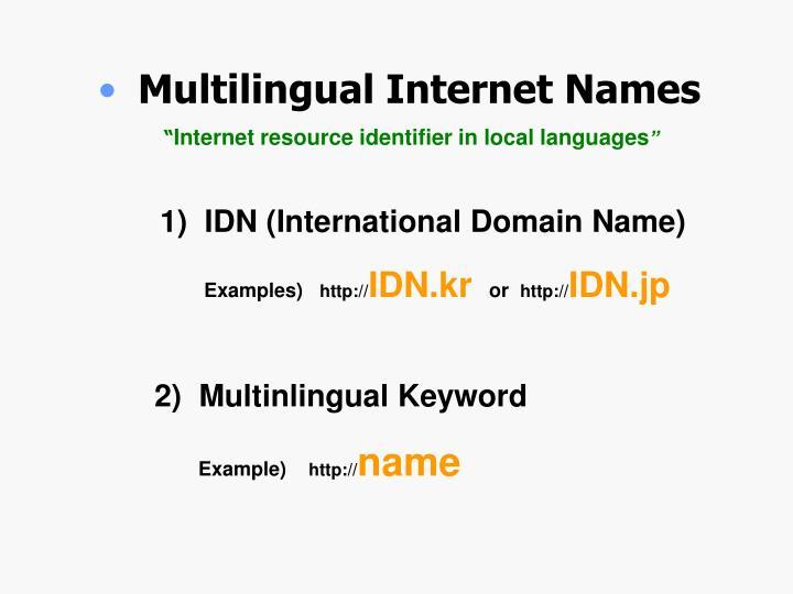 Multilingual Internet Names