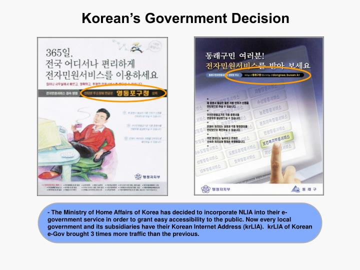 Korean's Government Decision