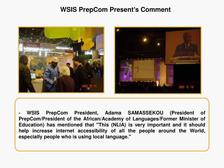 WSIS PrepCom Present's Comment