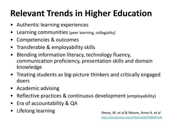 Relevant Trends in Higher Education