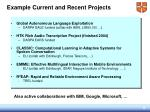 example current and recent projects