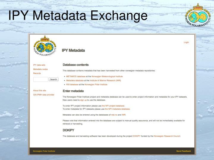 IPY Metadata Exchange