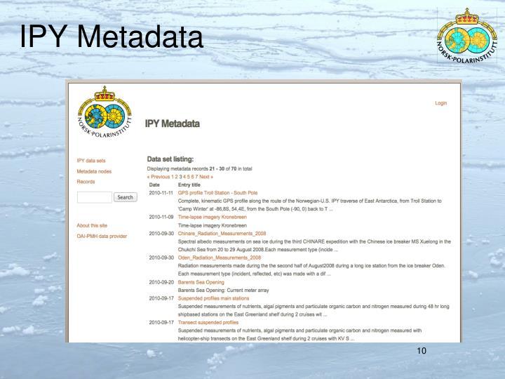 IPY Metadata