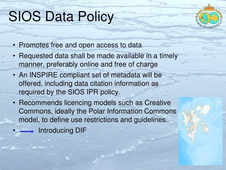 SIOS Data Policy