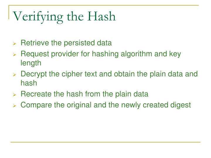 Verifying the Hash